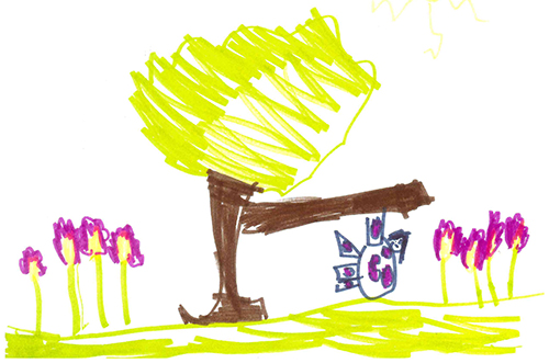 A colorful drawing of a cow climbing a tree, drawn by a child.