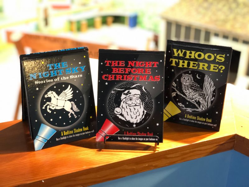 Three shadow books: The Night Sky, The Night Before Christmas, and Whoo's There.