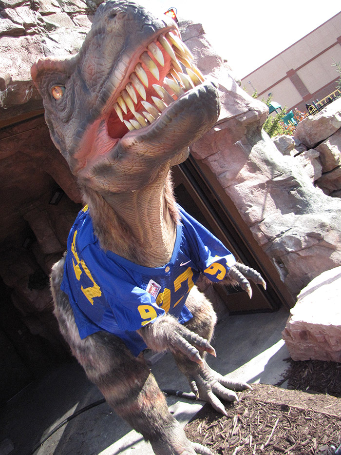 T. rex Max wearing an SDSU jersey in preparation for ESPN GameDay.