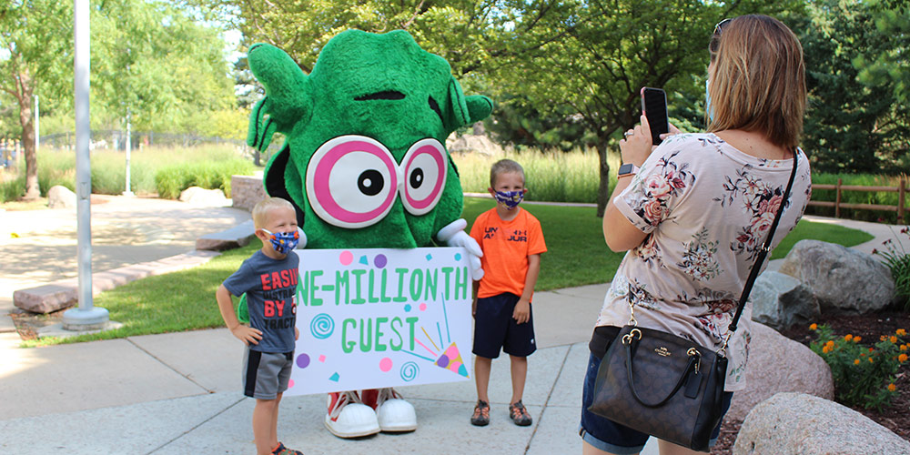 Say cheese! Our mascot Kidoodle helped share in the excitement.
