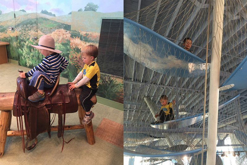 Two photos, one of two boys playing on a horse saddle, the other of the same two boys playing in an enclosed cloud climber