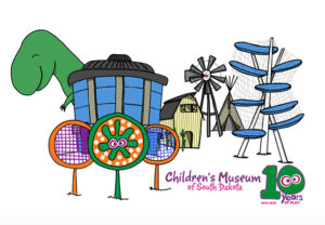 Line drawing of Museum prairie features, windmill, cloud climber, dinosaur