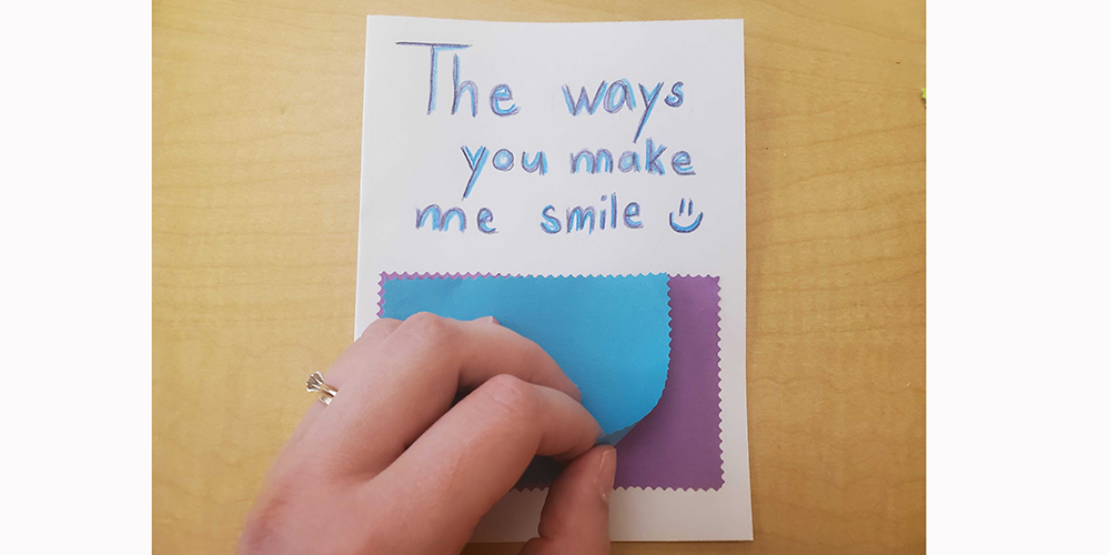 Add different sized rectangles to the front of your card.