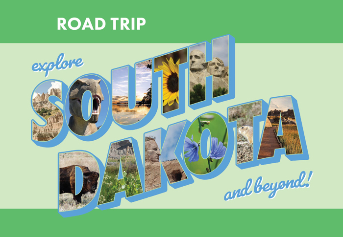 South Dakota graphic with photos of outdoor spaces inside the letters