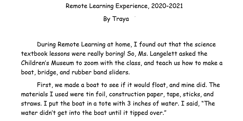Read Traya's own words about her remote learning experience.