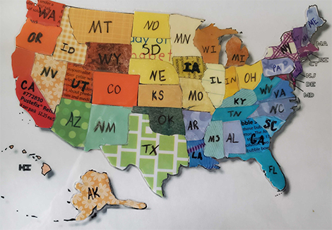 Map of the US with each state colored.